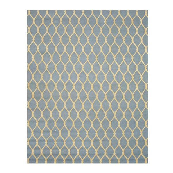 Hand-tufted Wool Blue Transitional Geometric Chain-Link Rug (5' x 8') - 5' x 8'