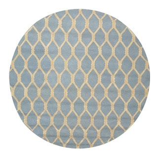 EORC Hand-tufted Wool Blue Chain-Link Rug (4' Round)