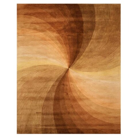 Hand-tufted Wool Brown Contemporary Abstract Swirl Rug - 4' x 6'