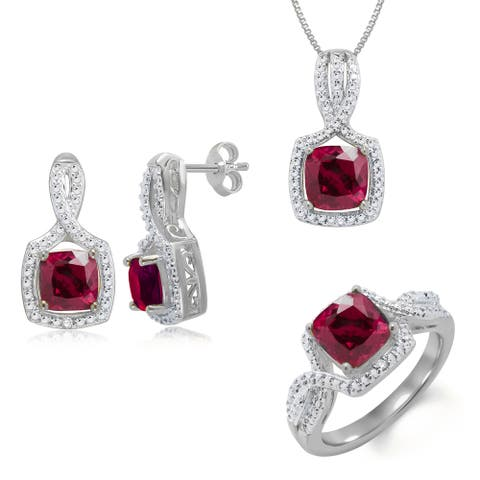Divina Rhodium-plated Brass Diamond Accent and Created Ruby 3-piece Jewelry Set