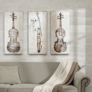 "Madison Park Symposium Design ""Violin Study Set"" Printed Embellished Canvas 3-Piece Set"