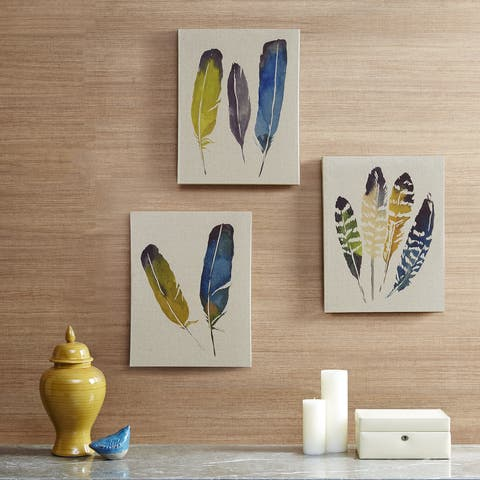 "Madison Park Megan Swartz ""In the Wind"" Printed Linen Canvas 3-Piece Set"