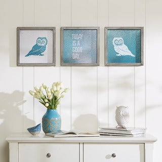 "Intelligent Design Evangeline Taylor ""Wise As An Owl"" Framed Gel Coated Paper 3-Piece Set"