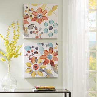 Copper Grove 'Sweet Florals' 2-piece Embellished Canvas Set