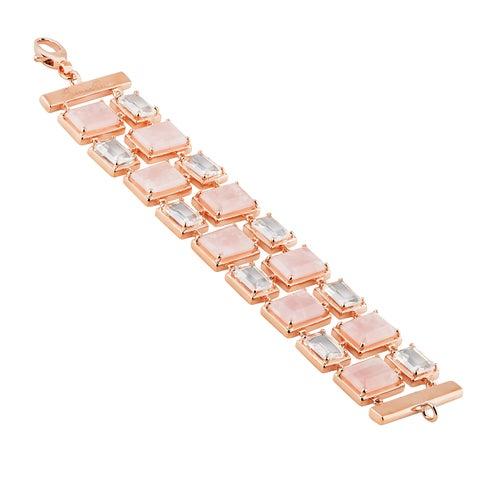 Oro Rosa 18K Rose Gold Over Bronze Italian Geometric Link Bracelet