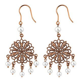 Oro Rosa 18k Rose Gold Over Bronze Freshwater Pearls Filigree Dangle Earrings