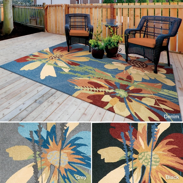 Rug Squared Melbourne Floral Indoor/Outdoor Area Rug (8' x 10'6) - 8' x 10'6