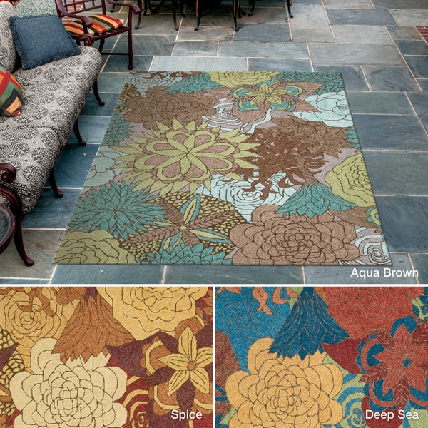 Rug Squared Melbourne Floral Indoor Outdoor Area Rug 10