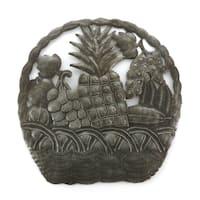 Handmade Recycled Steel Drum Basket of Fruit Wall Art (Haiti)
