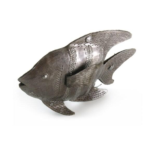 Handmade Recycled Steel Drum 3D Fish Art Accent Piece (Haiti)