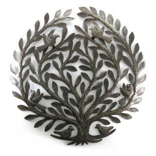Handcrafted Recycled Steel Drum Tree of Life Wall Art (Haiti)