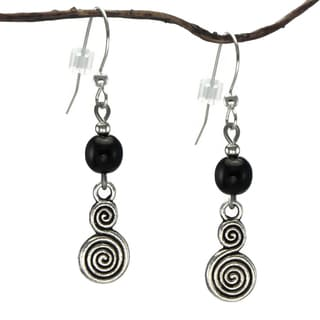 Jewelry by Dawn Pewter Double Swirl Black Dangle Earrings