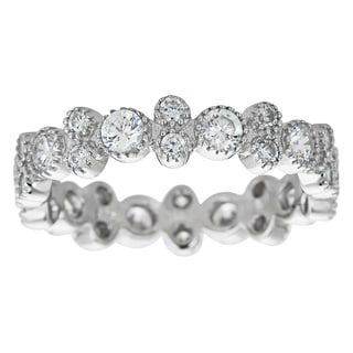 Decadence Sterling Silver Micropave Cubic Zirconia Fancy Beveled Eternity Ring
