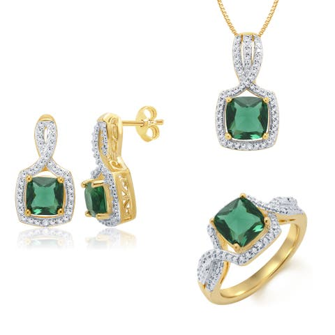 Divina 14k Yellow Goldplated Emerald and Diamond Accent Halo 3-piece Jewelry Set