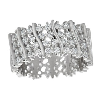 Decadence Sterling Silver Micropave Cubic Zirconia Fancy Eternity Ring