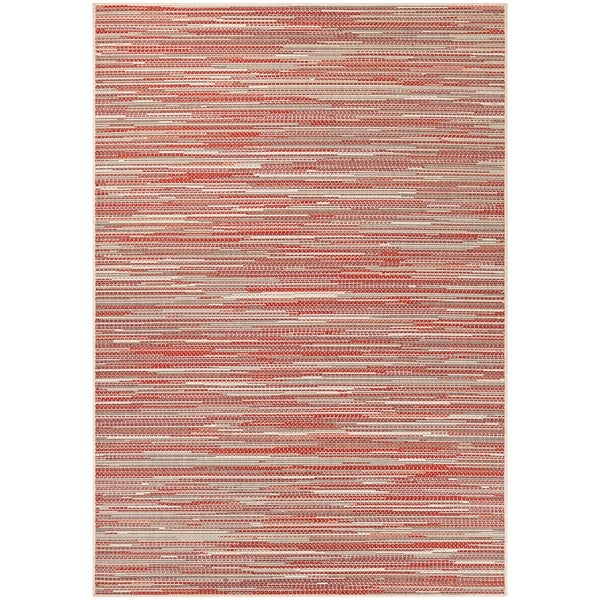 Samantha Yacht Sand-Maroon-Salmon Indoor/Outdoor Area Rug - 5'10 x 9'2