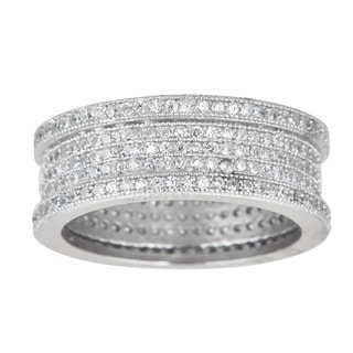 Decadence Sterling Silver Micropave Cubic Zirconia 6mm Eternity Ring