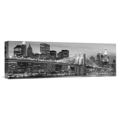 Global Gallery Anonymous 'Brooklyn Bridge at Night' Stretched Canvas Artwork