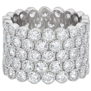 Decadence Sterling Silver 5-strand Bubble Micropave Cubic Zirconia Eternity Ring