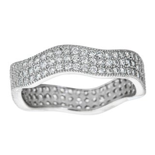 Decadence Sterling Silver Micropave Cubic Zirconia Fancy Wave Ring