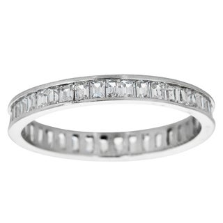 Decadence Sterling Silver Pave Channel-set Baguette-cut Cubic Zirconia Ring