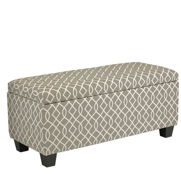 Cortesi Home Kiki Upholstered Storage Ottoman Grey Pattern Free