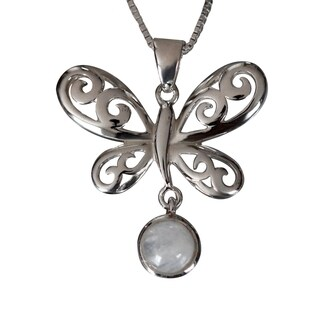 Sterling Silver Round Moonstone Butterfly Design Necklace (Thailand)