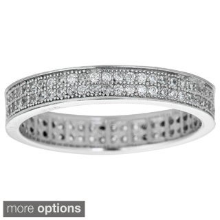 Decadence Sterling Silver Micropave Cubic Zirconia 2-row Eternity Ring