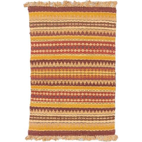 Ecarpet Gallery Palas Dark Gold, Dark Red Jute Stripe patterns Kilim Rectangular