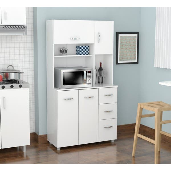 White Kitchen Storage Cabinet Overstock 9988425