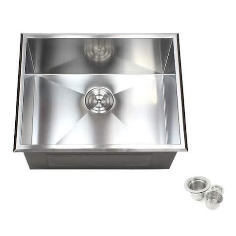 23-inch Stainless Steel Single Bowl Topmount Drop-in Zero Radius Kitchen Laundry Utility Sink 16 Gauge