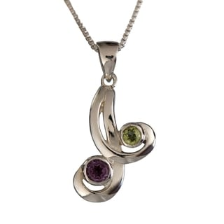 Handmade Sterling Silver Dual Natural Stones Amethyst and Peridot Necklace (Thailand)