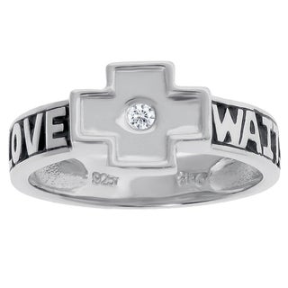 Sterling Silver and Diamond Accent Cross Ring with 'Love Waits' Mesge
