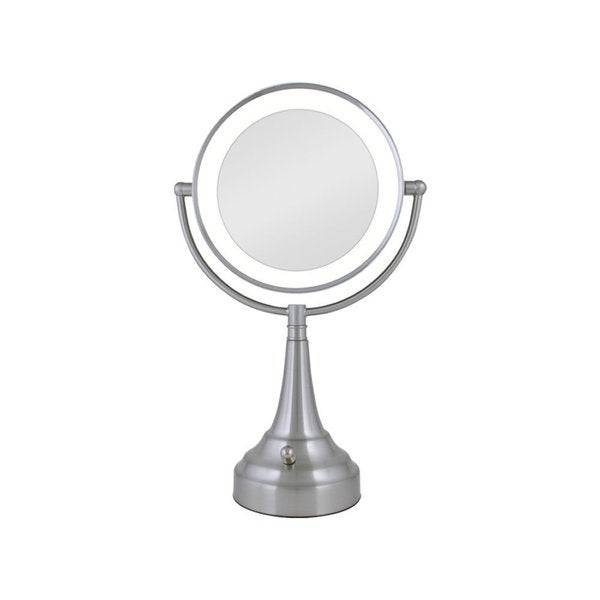 zadro cordless dual sided led lighted round vanity mirror free. Black Bedroom Furniture Sets. Home Design Ideas
