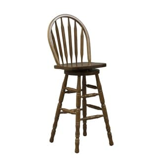 Nostalgia Traditional Oak Arrow Back Swivel Barstool  sc 1 st  Overstock.com : oak bar stools swivel - islam-shia.org