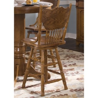 Nostalgia Traditional Oak Double Press Back Swivel Barstool
