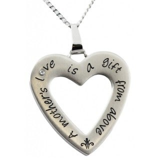 Stainless Steel 'A Mother's Love Is A Gift From Above' Cubic Zirconia Accent Heart Pendant