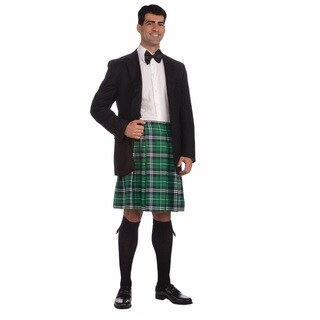 Men's Scottish Green and Black Plaid Kilt