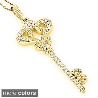 Luxurman 14k Gold 3/4ct TDW Diamond Key Necklace