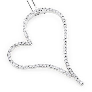 Luxurman 14k White Gold Heart 2 1/2ct TDW Diamond Heart Necklace (G-H, SI1-SI2)