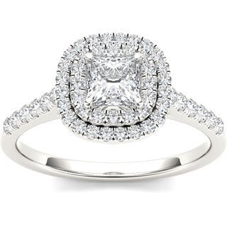 De Couer 14k White Gold 1 1/10ct TDW Diamond Double Halo Engagement Ring (H-I, I2)