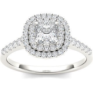 De Couer 14k White Gold 1 1/10ct TDW Diamond Double Halo Engagement Ring