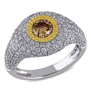 Miadora Signature Collection 18k Two-tone Gold 1 1/2ct TDW Brown and White Diamond Ring