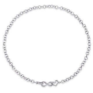 Miadora Sterling Silver 1/10ct TDW Diamond Link Infinity Necklace