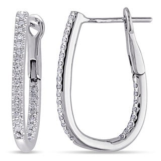 Miadora 10k White Gold 1/4ct TDW Diamond Cuff Hoop Earrings