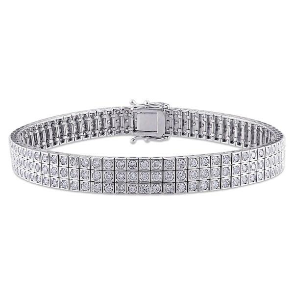 Miadora Signature Collection 18k White Gold 4 2/5ct TDW Diamond Bracelet