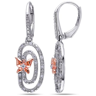 Miadora Two-Tone Sterling Silver White Topaz and 1/5ct TDW Diamond Butterfly Earrings