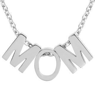 ELYA Stainless Steel 'MOM' Initial Pendant Necklace - Silver