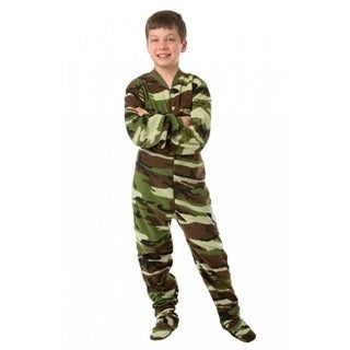 Youth Camo Fleece Footed Pajamas