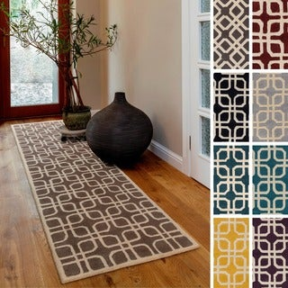 Hand-Tufted Brigg Crosshatched Wool Rug (2'3 x 8')